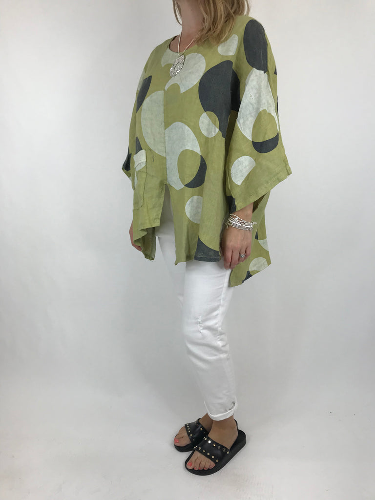 Lagenlook Circle Print Pocket Top In Lime. code 5908
