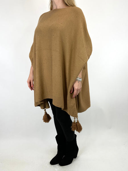 Lagenlook Carla Tassel Sparkle Jumper in Camel. code 2755 - Lagenlook Clothing UK