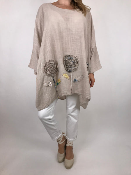 Lagenlook Dalia Flower hem in Cream . Code 90969
