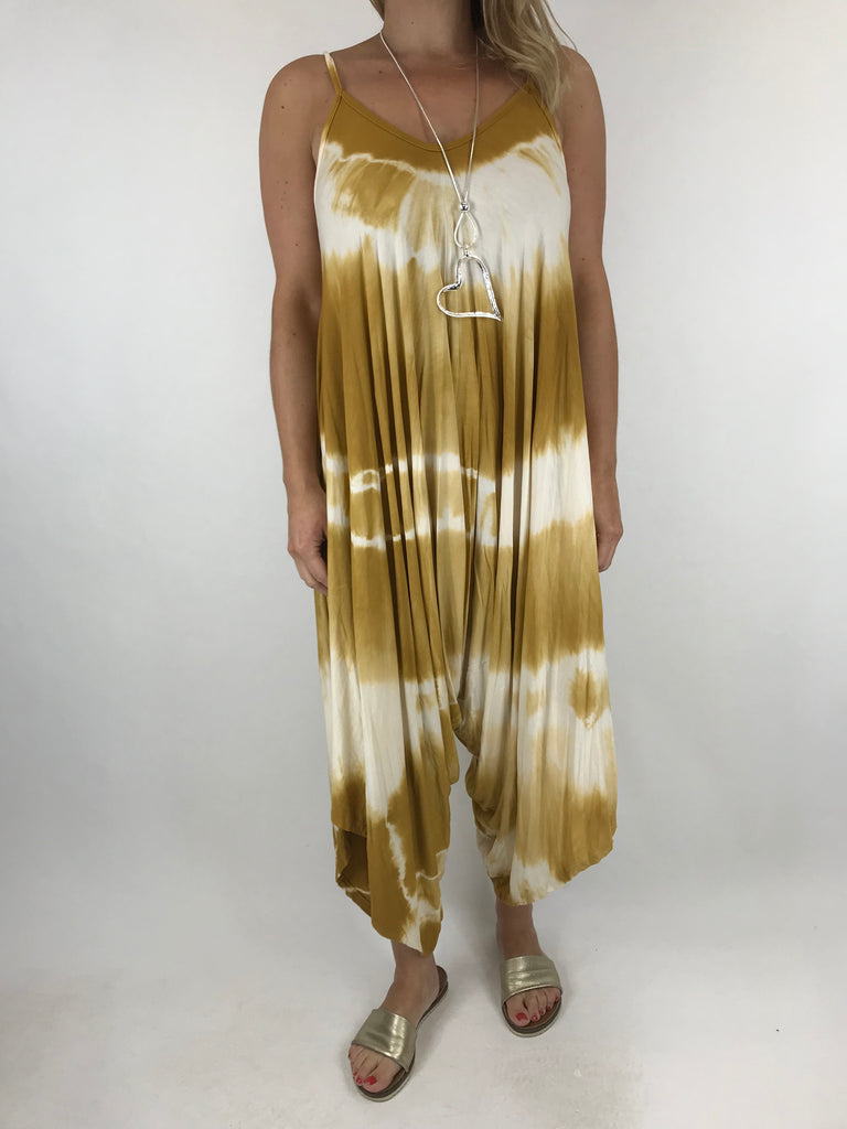 Lagenlook Tie Dye Loose fit jersey Jumpsuit in Mustard. code 15041