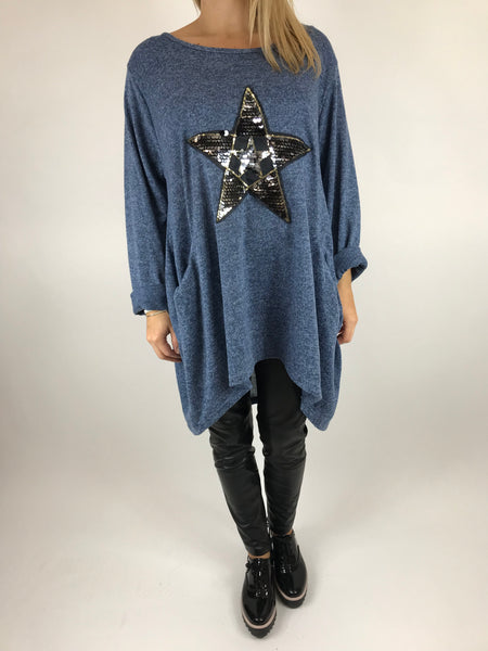 Lagenlook Star  Brushed Fleck Tunic In Denim Blue. code 74766