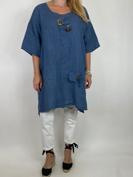 Lagenlook Bea Linen Top In Denim. code 9782