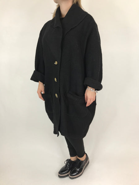 Lagenlook Boho Wool Coat in Black.code 9109