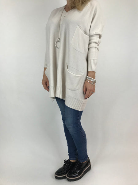 Lagenlook Grove V- Neck Knit jumper in Winter White. code 6077