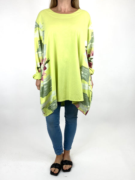 Lagenlook Hetty Flower Top in Lime . code 90646 - Lagenlook Clothing UK