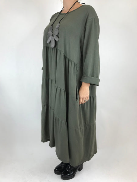 Lagenlook Evie Plain Tunic In Khaki. code p9788