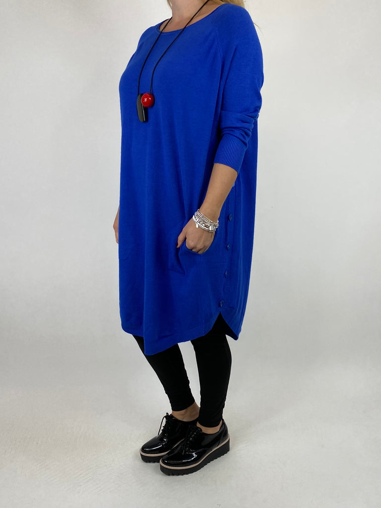 Lagenlook Amelie Button Side Jumper in Royal Blue. code 2560 - Lagenlook Clothing UK
