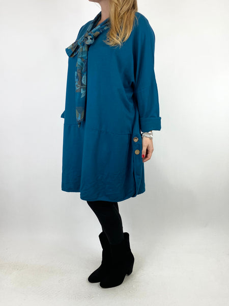 Lagenlook Alice Scarf Button Top in Denim. code 10559