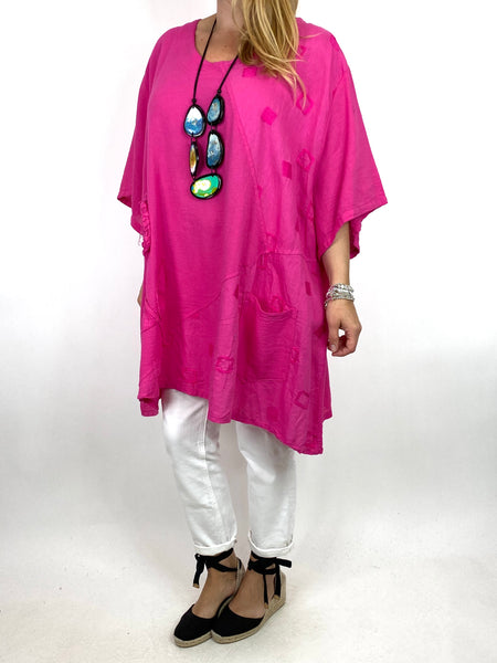 Lagenlook Rosa Flower Top In Fuchsia. code 4973