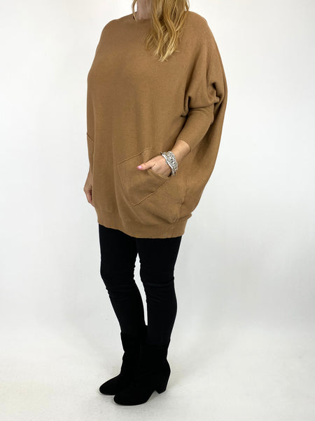 Lagenlook Piper Ribbed Plait Back Jumper in Camel. code 2658 - Lagenlook Clothing UK