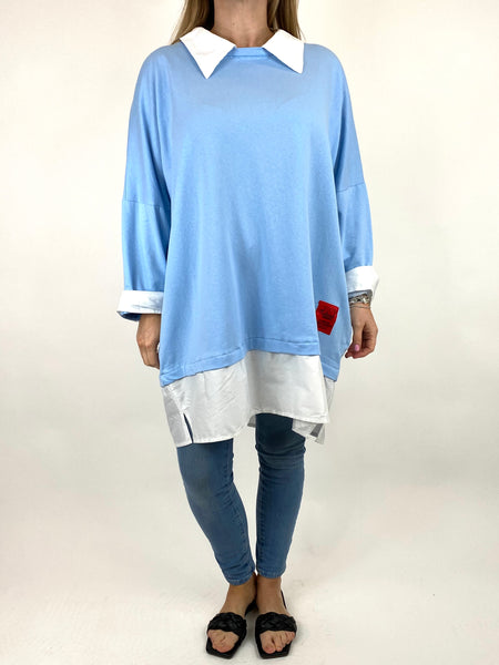 Lagenlook Cassie Cotton Shirt Top in Sky. code 91205 - Lagenlook Clothing UK