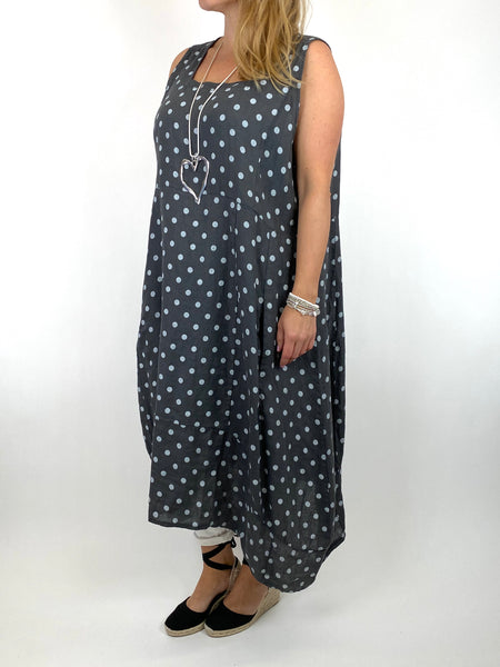 Lagenlook Taylor Linen Polka Dot Square neck tunic in Charcoal. code 8262PD