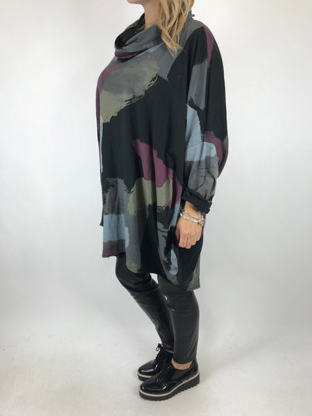 Lagenlook Cowl Neck Paint Splash Print Top in Black. code 9810 - Lagenlook Clothing UK