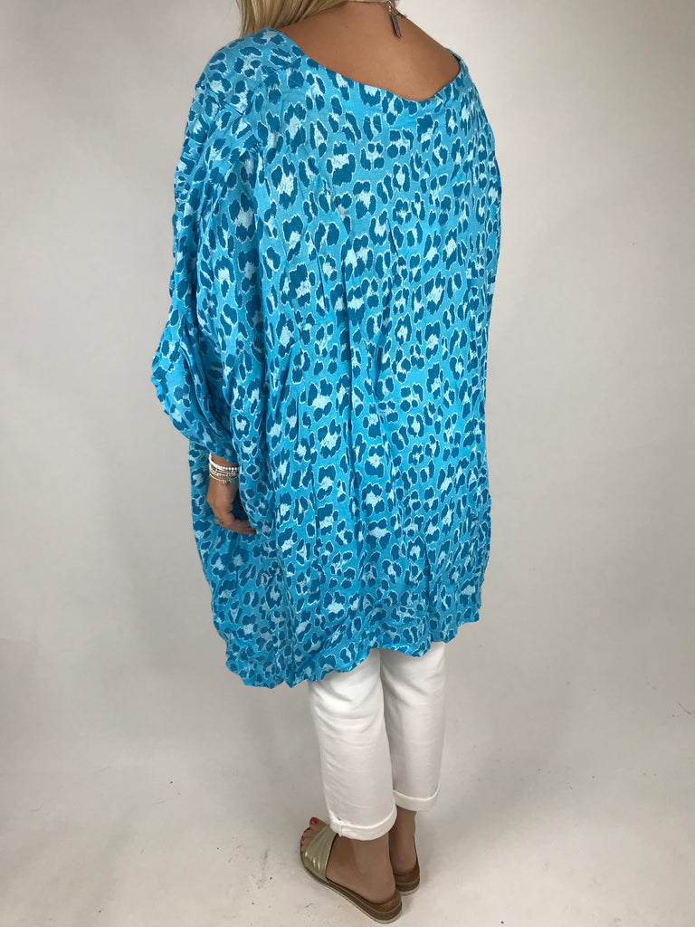 Lagenlook Animal Print Linen Poncho in Turquoise. code 5214