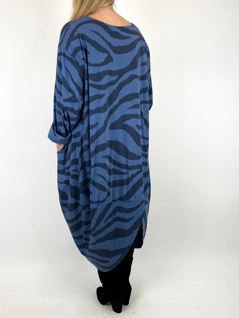 Lagenlook Zebra Print Tunic in Denim. code 10434 - Lagenlook Clothing UK
