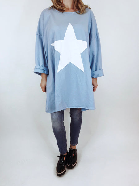 Lagenlook Solo Star Print Sweatshirt Top Tunic in Sky. Code 9482 - Lagenlook Clothing UK