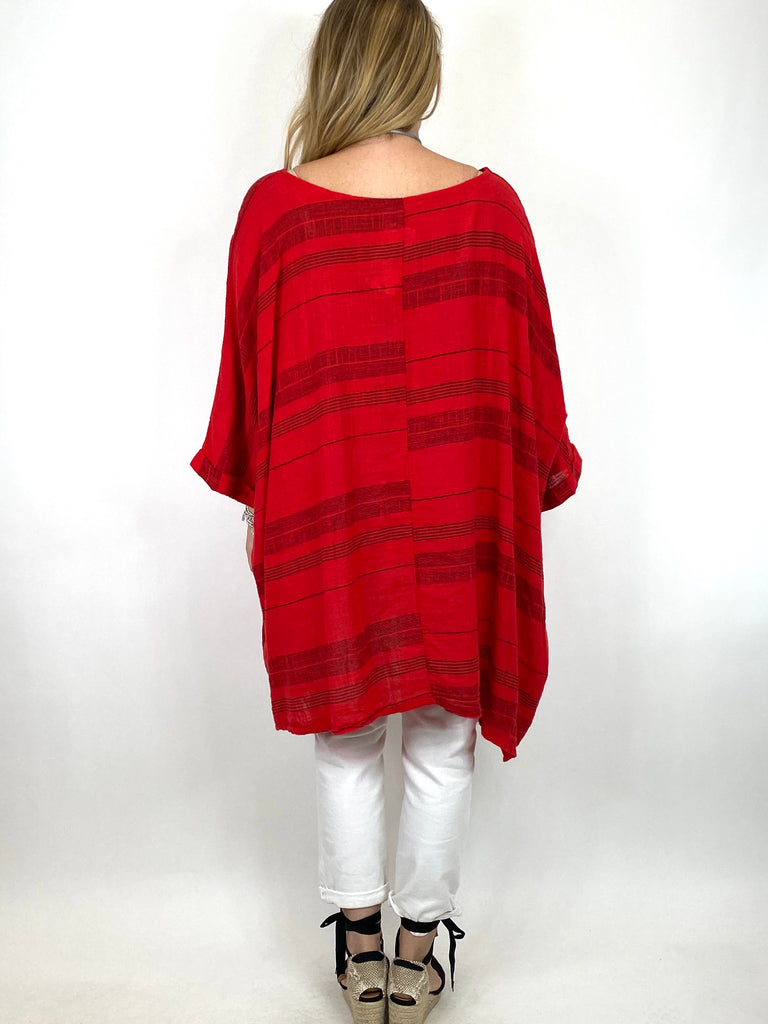 Lagenlook Maggie Stripe top in Red .code 8365