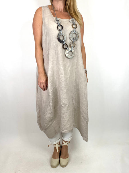 Lagenlook Bella Linen Square neck tunic in Cream. code 8262