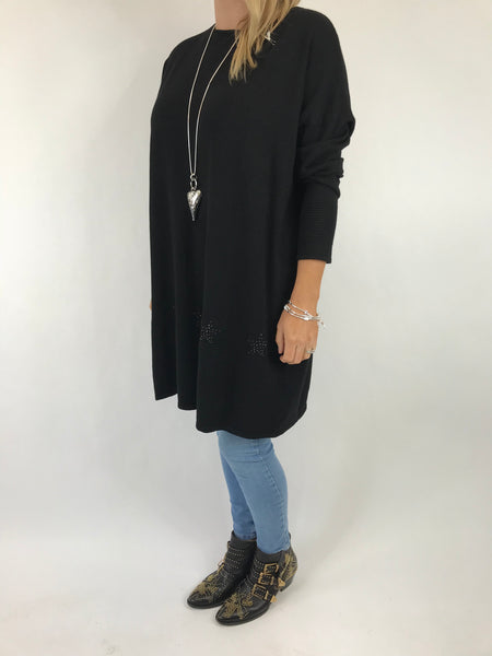 Lagenlook Diaz Star Jumper in Black. Code 5367