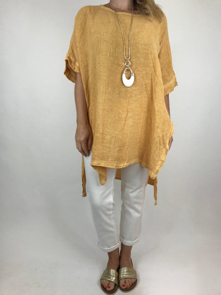 Lagenlook Alto Linen Top in Mustard. code 5773