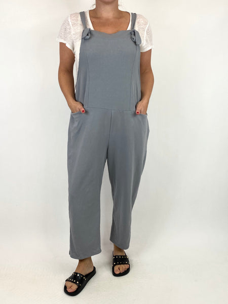 Lagenlook Dakota Plain Made in Italy Dungarees in Grey. code 6777 - Lagenlook Clothing UK