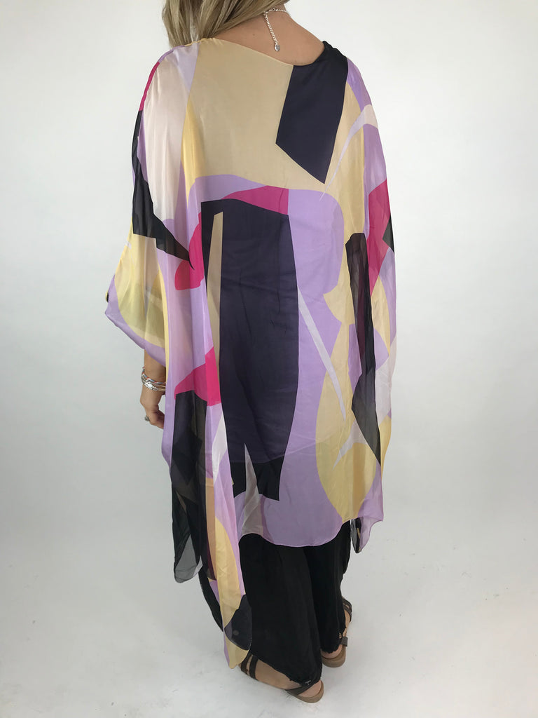 Lagenlook Block Colour Silk in Lilac. code 1727b