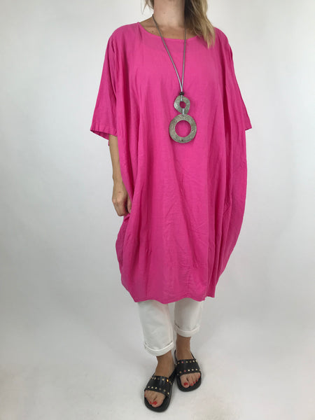 Lagenlook Cocoon Top in Fuchsia Pink. code 5808