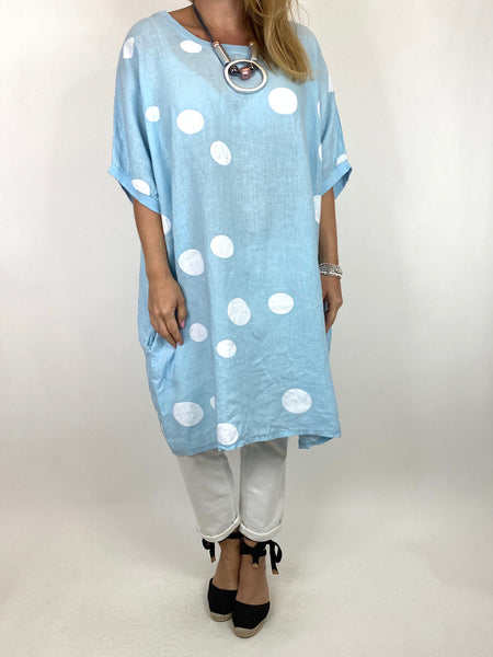 Lagenlook Dot Linen tunic in Sky Blue. code 9619