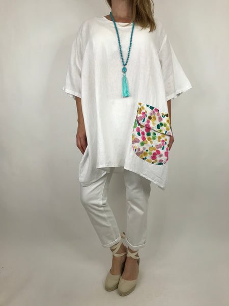 Lagenlook Bella  Artist Paint Dot Pocket Top in White. code 91049 - Lagenlook Clothing UK