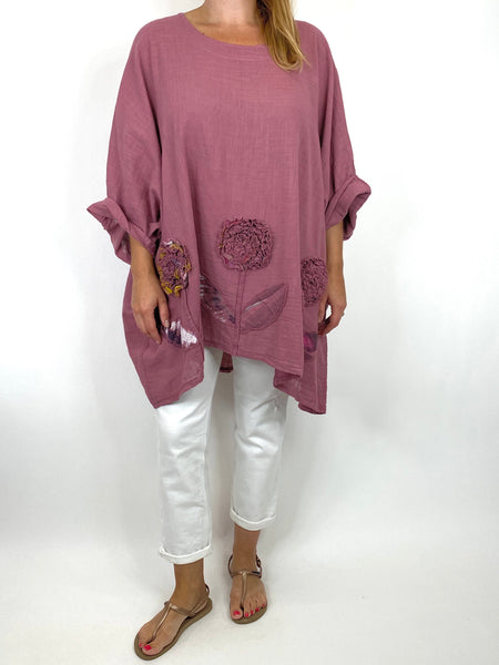 Lagenlook Dalia Flower hem in Mulberry Pink.Code 90969