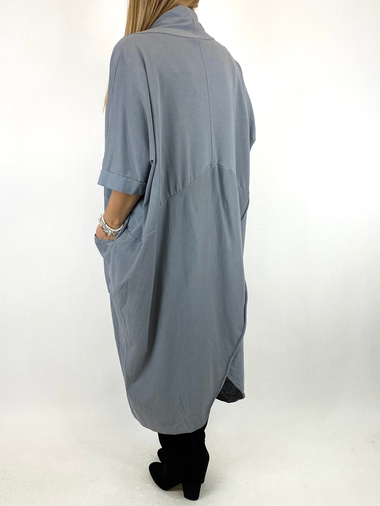 Lagenlook Mena Wrap Dress Top in Grey. code 8307