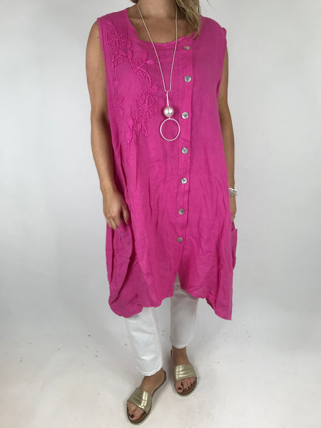 Lagenlook Side Button Linen Top in Fuchsia Pink.code 5843