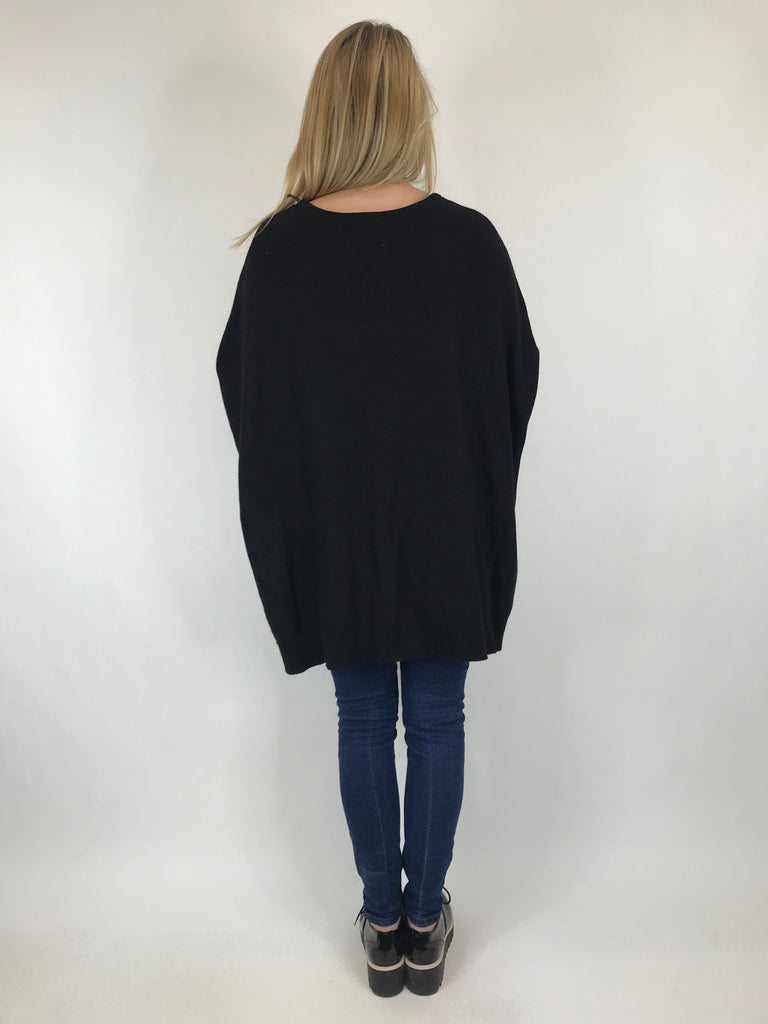 Lagenlook Monty Button Side Jumper in Black. code 6020