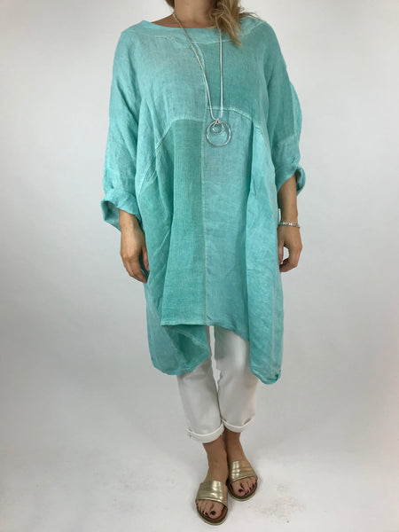 Lagenlook Mia Linen Top in Mint Green  .code 5733