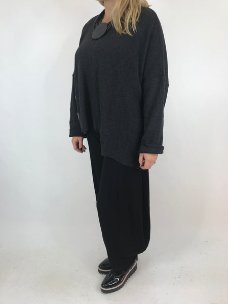 Lagenlook Casey Piped Jumper Short Knit Jumper in Black. code 1841