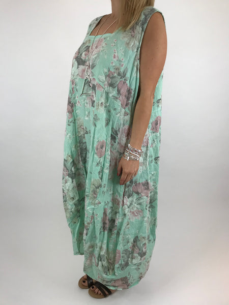 Lagenlook Emily Square neck linen Flower Print Dress in Mint. code 5697