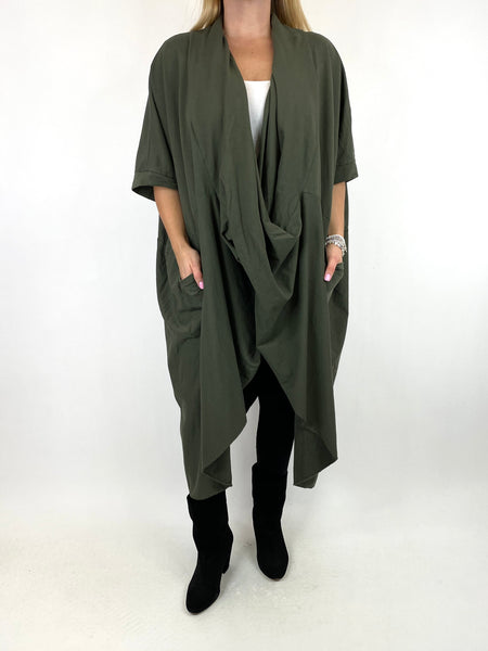 Lagenlook Mena Wrap Dress Top in Khaki. code 8307 - Lagenlook Clothing UK