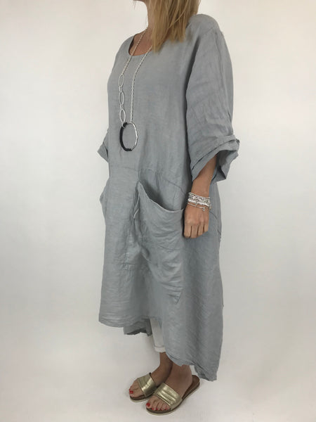 Lagenlook Misha Linen Tie back Tunic in Pale Grey. code 20511