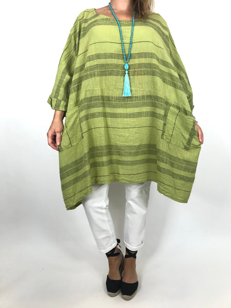 Lagenlook Maggie Stripe top in Lime.code 8365