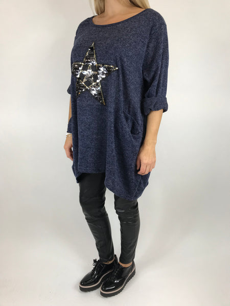 Lagenlook Star  Brushed Fleck Tunic In Navy. code 74766