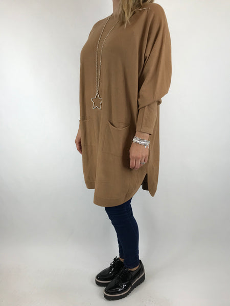 Lagenlook Joanna Bow back jumper in Camel. code 5923