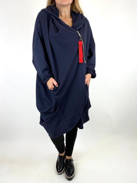 Lagenlook Terri Cocoon Jacket in Navy. code 91168 - Lagenlook Clothing UK