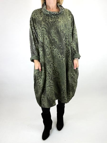 Lagenlook Animal Cowl Neck Tunic in Khaki. code 66108 - Lagenlook Clothing UK