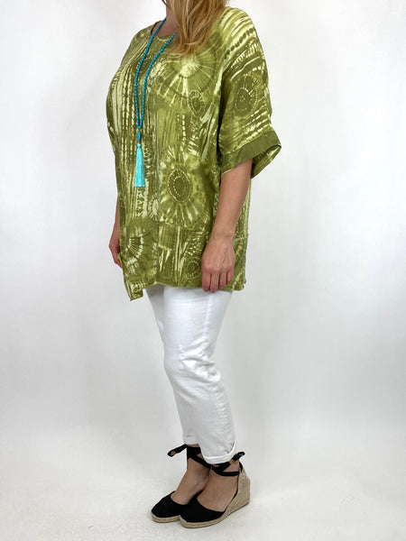 Lagenlook Tye-dye Top in Lime Regular Size. code 6688