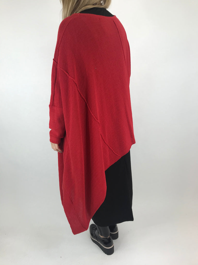 Lagenlook Collins Asymmetrical layering tank in Red. Code 1830