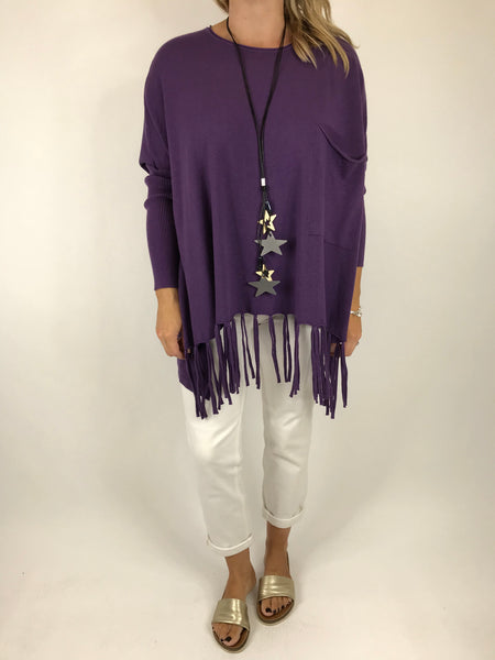 Lagenlook Tibi Tassel Knit Jumper in Purple.  Code 5373