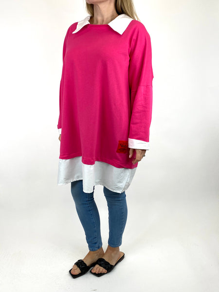 Lagenlook Cassie Cotton Shirt Top in Fuchsia. code 91205 - Lagenlook Clothing UK