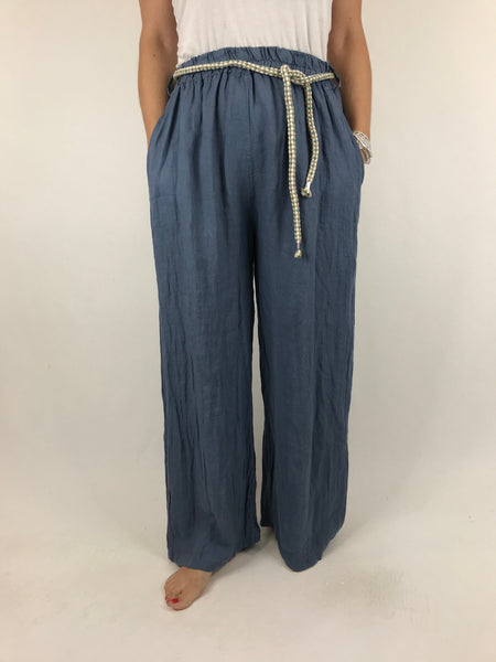 Lagenlook Polly Slim leg Linen Trousers in Denim. code 7354