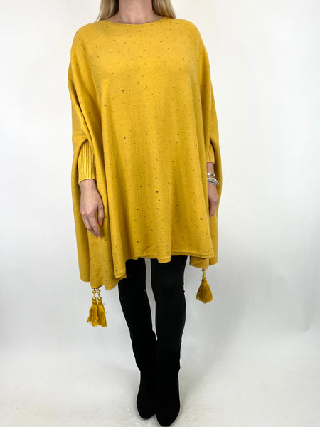 Lagenlook Carla Tassel Sparkle Jumper in Mustard. code 2755 - Lagenlook Clothing UK