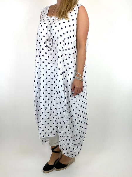 Lagenlook Taylor Linen Polka Dot Square neck tunic in White. code 8262PD